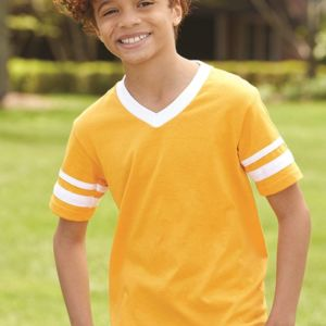 Youth V-Neck Jersey with Striped Sleeves Thumbnail